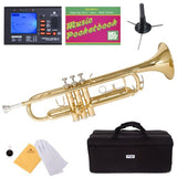 Mendini MTT-L Gold Lacquer Brass Bb Trumpet + Tuner Case Stand Mouthpiece Poc... - Chickadee Solutions - 1