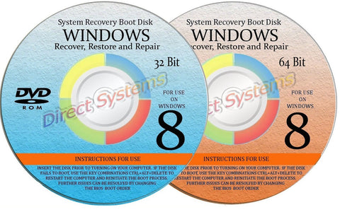2 BOOT DISKS for RESTORE & RECOVERY for WINDOWS EIGHT 32 & 64 bit - Chickadee Solutions - 1