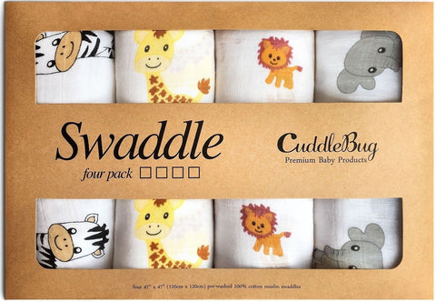 """Safari Friends"" Muslin Baby Swaddle Blankets 4 Pack - CuddleBug 47 x 47 inch... - Chickadee Solutions - 1"