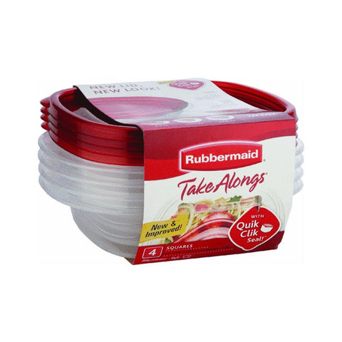 Rubbermaid 7F58 4-Piece TakeAlongs Food Storage Container Set Sandwich Red - Chickadee Solutions