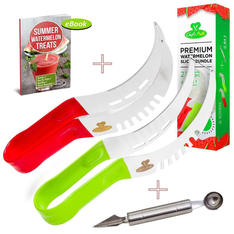 Chef's Path Premium 2-PACK Watermelon Slicer Corer Server Tongs BUNDLEAs Seen... - Chickadee Solutions - 1