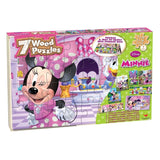 Disney Minnie Bowtique 7 Wood Puzzles in Wood Storage Box - Chickadee Solutions - 1