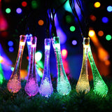Outdoor Solar Powered String LightseasyDecor Water Drop 8Mode 30 LED 21ft Mul... - Chickadee Solutions - 1