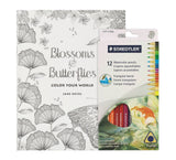 Adult Coloring Book Kit Blossoms & Butterflies Mandalas with Large Pages and... - Chickadee Solutions - 1
