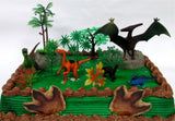Prehistoric Roaming DINOSAURS 12 Piece Birthday CAKE Topper Set Featuring 3 D... - Chickadee Solutions - 1