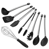 8 Piece Silicone Kitchen Utensil Set Inox Stainless Steel Cookware Set Kitche... - Chickadee Solutions - 1