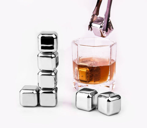 Whiskey Stones - Yukiss Set of 8 with Plastic Storage Box Tongs Stainless Ste... - Chickadee Solutions - 1