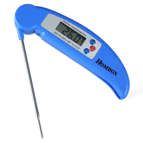 Homdox Instant Read Meat Thermometer with Collapsible Internal Probe Blue - Chickadee Solutions - 1