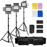 Julius Studio 3x 216 Barndoor Continuous LED Video Lighting kit Dimmable Pane... - Chickadee Solutions - 1