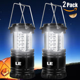 LE 2 Pack Portable Outdoor LED Camping Lantern Flashlights 30 LEDs Battery Po... - Chickadee Solutions - 1
