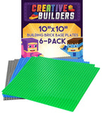 Creative Builders - Our Best 6 pack Green+Blue+Grey Variety Base Plates | Lar... - Chickadee Solutions - 1