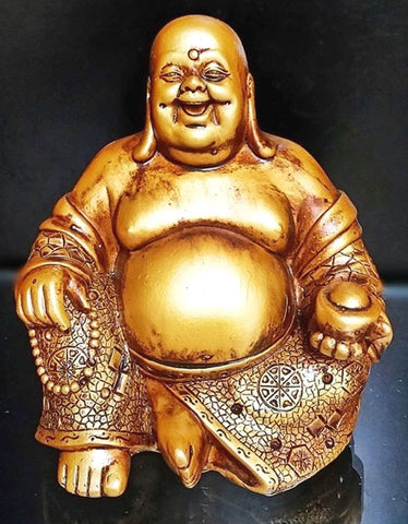 A Golden Happy Buddha (Laughing Buddha) Feng Shui for Money and Wealths - Chickadee Solutions - 1