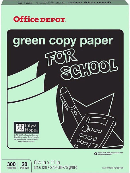 Office depot colored copy paper green 8 1 2 inch x 11 for Letter paper size in inches