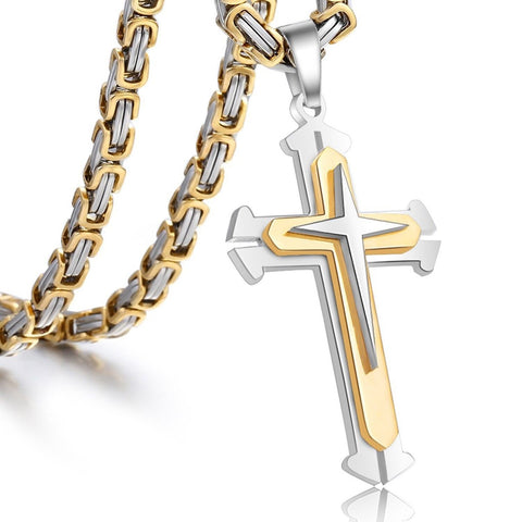 Trendsmax Jewelry Stainless Steel Cross Pendant Necklace Mens Boys Chain 5mm ... - Chickadee Solutions - 1