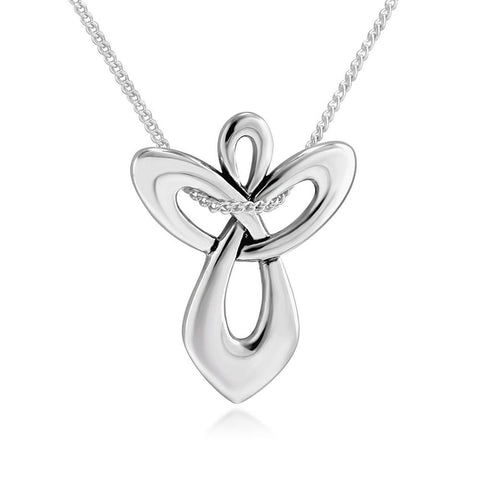 "925 Sterling Silver Guardian Angel Cross Pendant Necklace 18"" for Women - Chickadee Solutions - 1"