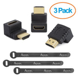 Aurum Cables Right Angle L Shape HDMI Male to HDMI Female Adapters - Black - ... - Chickadee Solutions - 1
