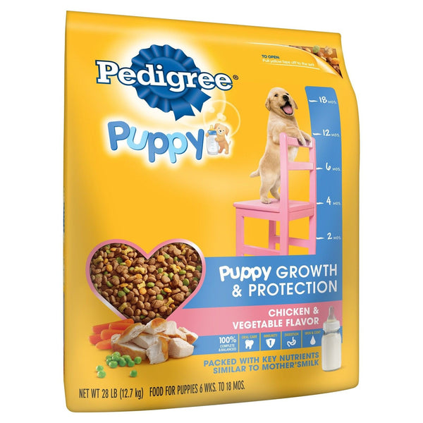 PEDIGREE Puppy Growth and Protection Chicken and Vegetable Flavor Dog Food is formulated to help your pup keep up with the big dogs. · Formulated to fit 4 universal dog needs: immune system, skin and coat, oral care and digestion.