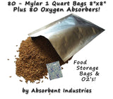 80 - 1 Quart Mylar Bags & Oxygen Absorbers for Dried Food & Long Term Storage... - Chickadee Solutions