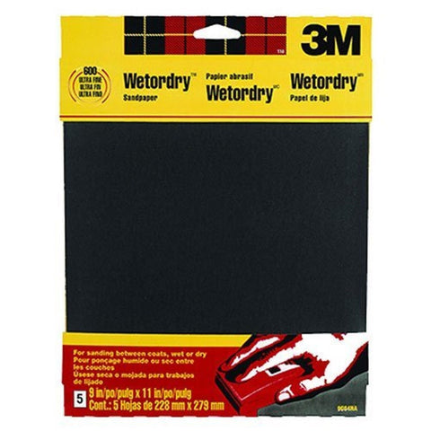 3M Wetordry Sandpaper 9-Inch by 11-Inch Super Fine 400 Grit 5-Sheet - Chickadee Solutions