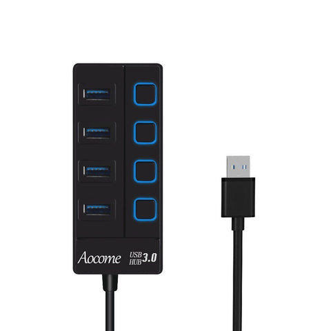 Aocome 4 Port Mini USB 3.0 Hub with Individual Power Switches and LEDsHigh-sp... - Chickadee Solutions - 1