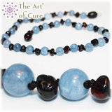The Art of Cure Baltic Amber Teething Necklace for Baby (Cherry/Aquamarine) - Chickadee Solutions - 1