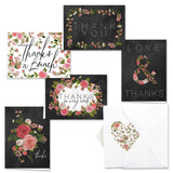 Chalkboard Floral Thank You Note Card Assortment Pack - Set of 36 cards - 6 d... - Chickadee Solutions - 1