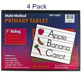 (Pack of 4) Top Flight Primary Tablet 1 Inch Ruling Multi-Method Grade 1 & Ki... - Chickadee Solutions