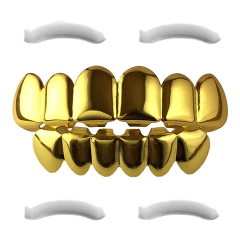 24K Gold Plated Grillz for Mouth Top Bottom Hip Hop Teeth - Chickadee Solutions - 1