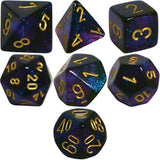 Polyhedral 7-Die Borealis Chessex Dice Set - Royal Purple with Gold Numbers C... - Chickadee Solutions - 1