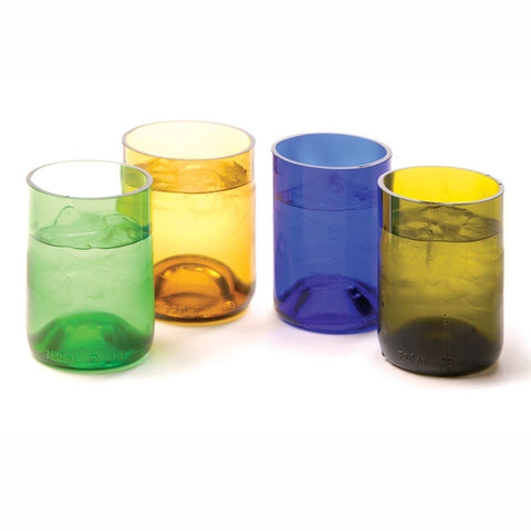 Oenophilia Recycled Glass Wine Bottle Tumblers Assorted Colors - Set of 4 - Chickadee Solutions