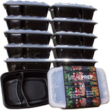 2-Compartment Premium Meal Prep Containers - Stackable Plastic Microwavable D... - Chickadee Solutions - 1