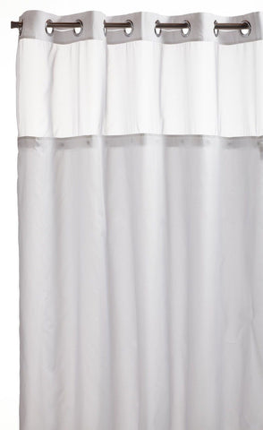 Hookless Mystery Snap In Peva Liner Fabric Shower Curtain