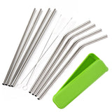 Mudder 8 Pack Stainless Steel Drinking Straws with Cleaning Brushes and Porta... - Chickadee Solutions - 1