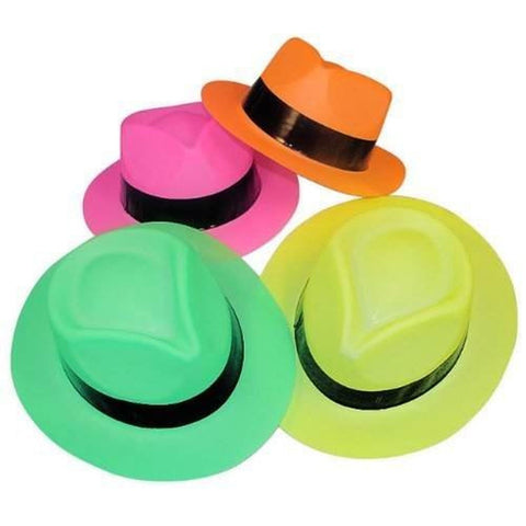 Adorox Neon Color Plastic Gangster Hats Fedora Party Favors (Assorted (12 Hat... - Chickadee Solutions - 1