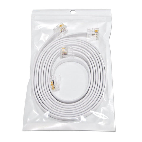 "(2 Pack) 3 Foot White Short Telephone Cable Rj11 Male to Male 36"" Phone Line ... - Chickadee Solutions - 1"