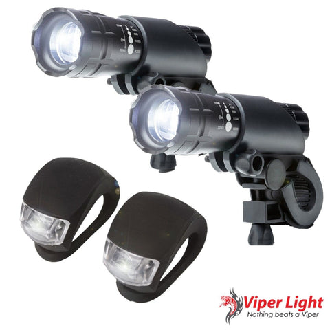 Bike Light Set - 300 Lumens Super Bright LED Lights Easy to Mount in Front an... - Chickadee Solutions - 1