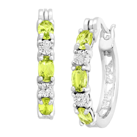 1 5/8 ct Natural Peridot Hoop Earrings with Diamonds in Platinum over Brass .... - Chickadee Solutions - 1