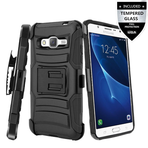 Galaxy J7 Case With Tempered Glass Screen ProtectorIDEA LINE(TM)Heavy Duty Ar... - Chickadee Solutions - 1