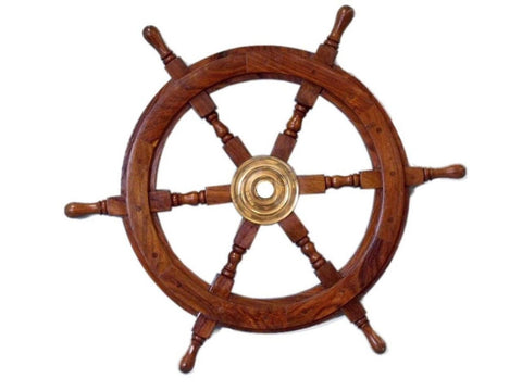 "Handcrafted Model Ships Deluxe Class Wood and Brass Decorative Ship Wheel 24""... - Chickadee Solutions - 1"