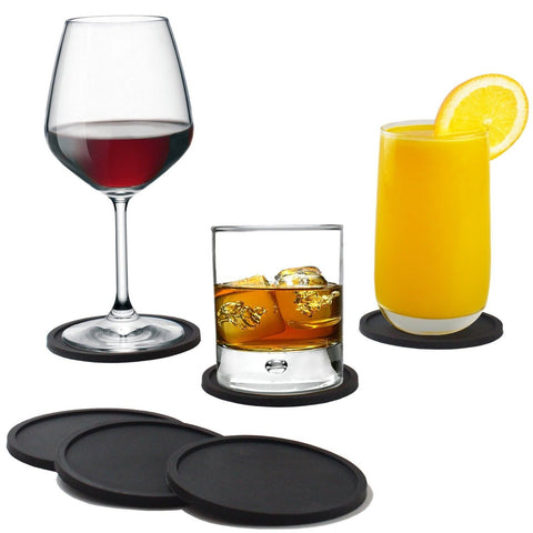 Coasters - Silicone - Set of 8 - Black - Sleek Modern Design Protects Furnitu... - Chickadee Solutions - 1