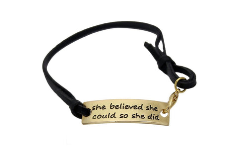 """She Believed She Could so She Did"" Inspirational Leather Bracelet Gold Plated - Chickadee Solutions - 1"