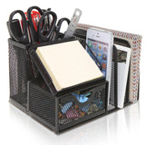 Black Metal Mesh Office Supplies Storage Rack / File Folder Mail Organizer / ... - Chickadee Solutions - 1