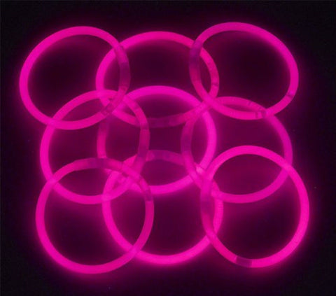 "8"" Lumistick Glowsticks Glow Stick Bracelets PINK (Tube of 100) - Chickadee Solutions - 1"