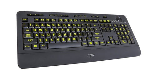 Azio Vision Backlit USB Keyboard with Large Print keys and 5 Interchangeable ... - Chickadee Solutions - 1