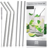Mullier Set of 6 Stainless Steel Reusable Drinking Straws and Cleaning Brush ... - Chickadee Solutions - 1