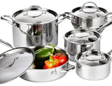 Cooks Standard 10 Piece Multi-Ply Clad Cookware Set Stainless Steel - Chickadee Solutions - 1