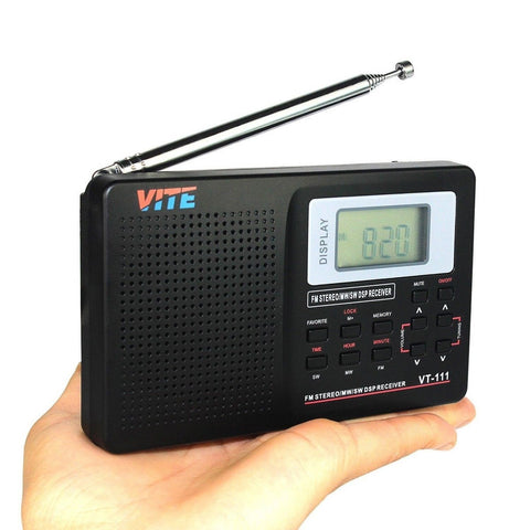 vite vt 111 dsp am fm lw shortwave radio with clock and alarm black chickadee solutions. Black Bedroom Furniture Sets. Home Design Ideas