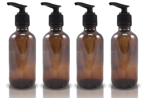 4oz Amber Glass Boston Round Pump Bottles (4 Pack) - Chickadee Solutions - 1