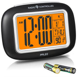 PPLEE Radio Controlled Atomic LCD Digital Alarm Clock With CalendarIndoor Tem... - Chickadee Solutions - 1