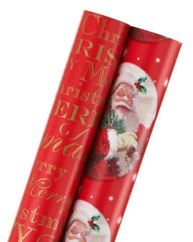 American Greetings Christmas Wrapping Paper Red 'Merry Christmas' & Santa 2-R... - Chickadee Solutions - 1